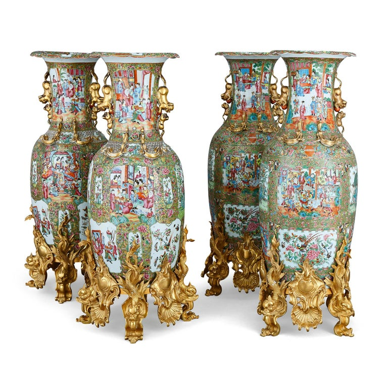 Set of four large gilt bronze mounted Chinese porcelain vases Porcelain: Chinese, 19th century Gilt bronze: French, 20th century With stands: Height 107cm, diameter 36cm Without stands: Height 88cm, diameter 36cm  This set of four Chinese