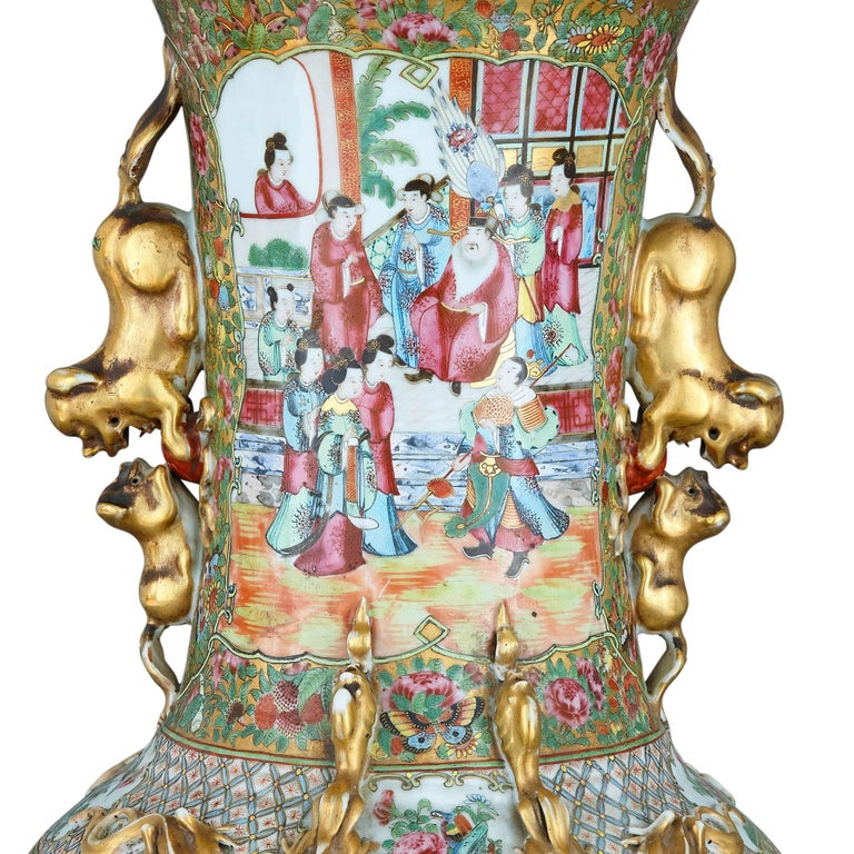 Set of Four Large Gilt Bronze Mounted Chinese Porcelain Vases For Sale 2