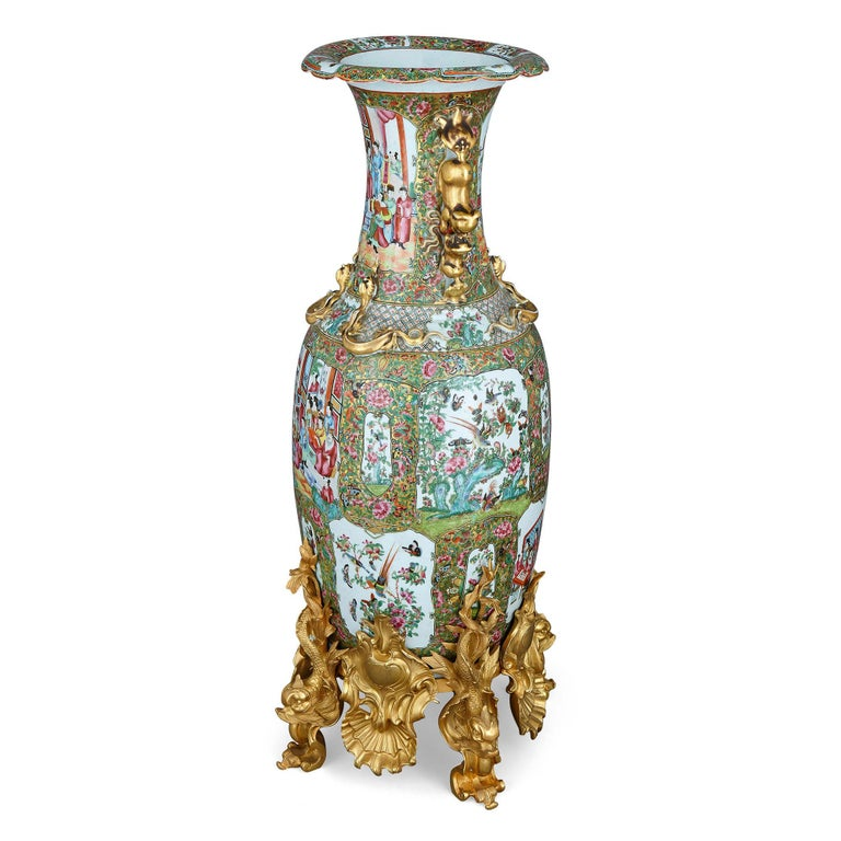 Set of Four Large Gilt Bronze Mounted Chinese Porcelain Vases For Sale 3