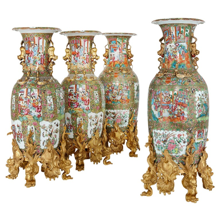 Set of Four Large Gilt Bronze Mounted Chinese Porcelain Vases For Sale