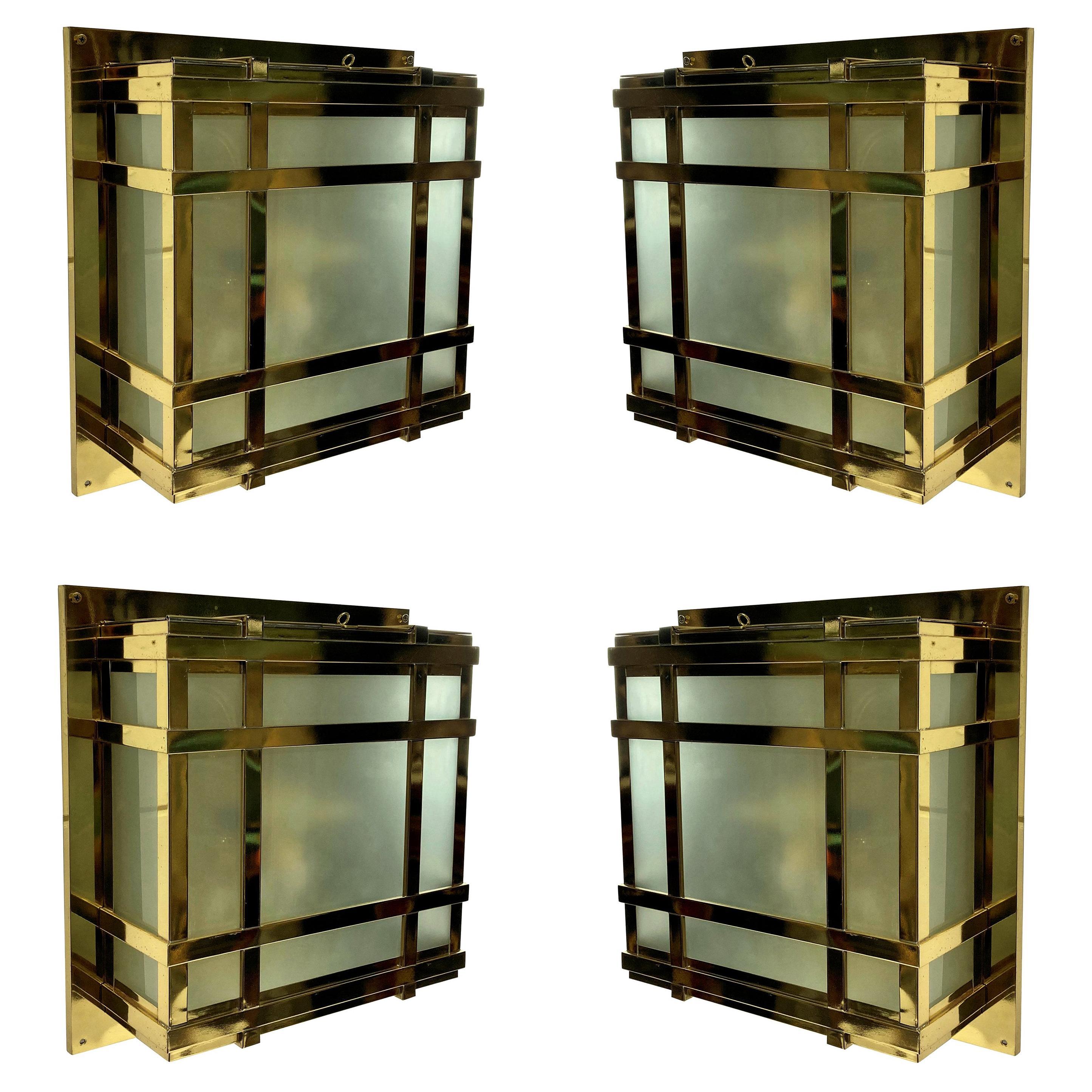 Set of Four Large Modernist Wall Lights
