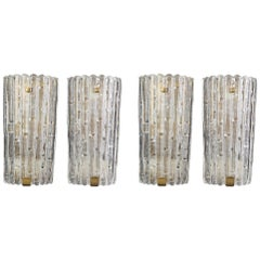 Set of Four Large Orrefors Glass and Brass Wall Sconces