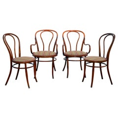 Set of Four Large Slender Bentwood Dining Set by Thonet