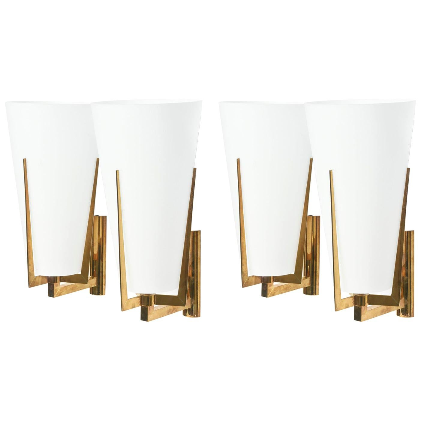 Set of Four Large Stilnovo Brass and Frosted Glass Wall Lights, Italy