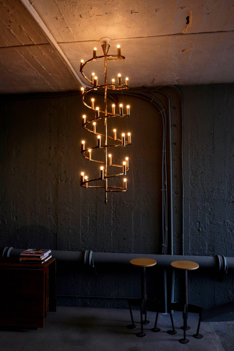 Scandinavian Modern Set of Four Large Swedish Brass Chandeliers, 1960s For Sale