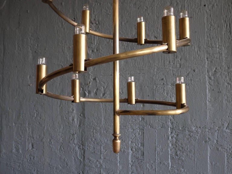 Set of Four Large Swedish Brass Chandeliers, 1960s In Excellent Condition For Sale In Stockholm, SE