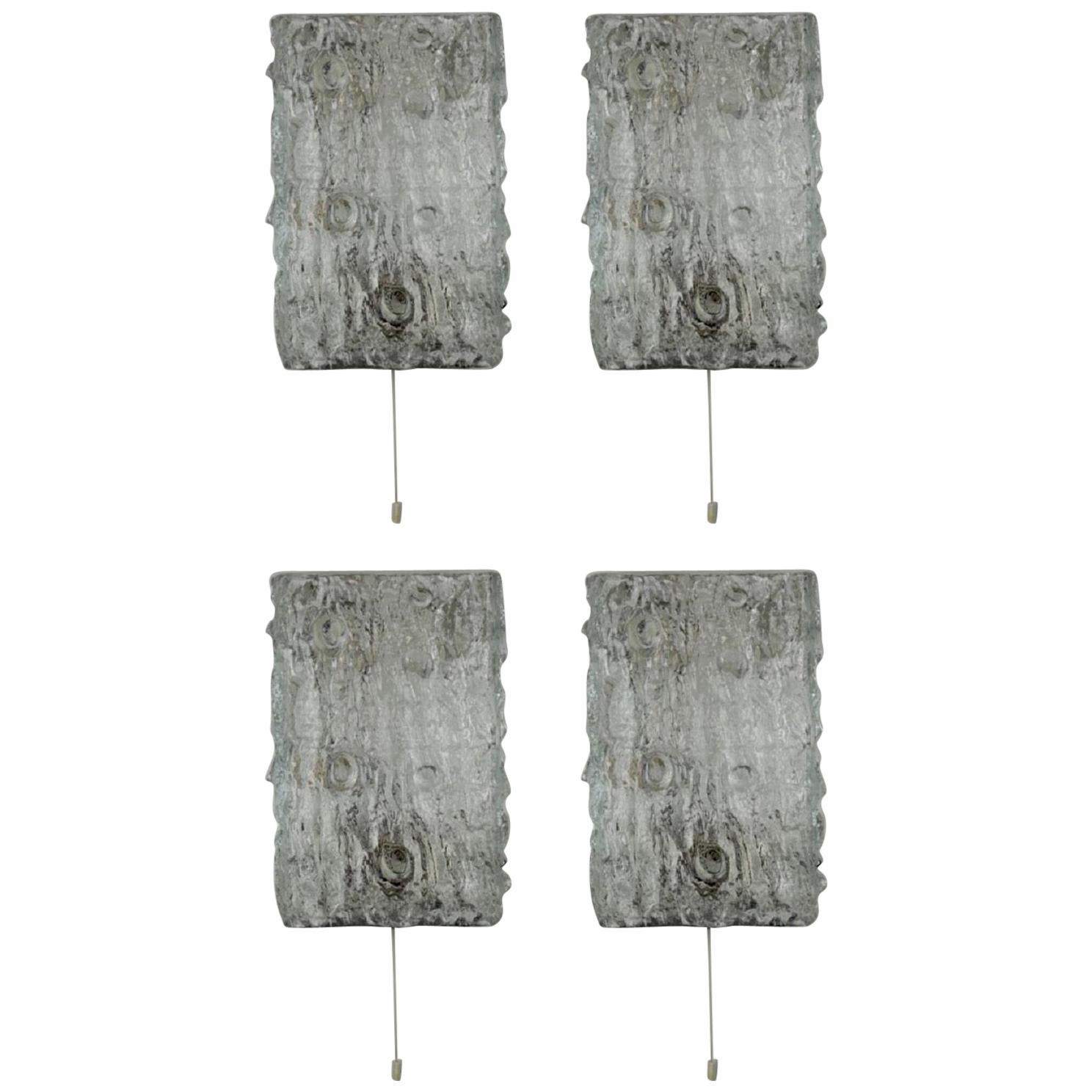 Set of Four Large Wall Sconces by Kaiser, Chrome and Glass, circa 1960s