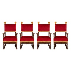 Set of Four Late 18th Century Baroque Walnut and Gilt Armchairs