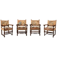 Set of Four Late 18th Century Italian Tapestry Upholstered Armchairs