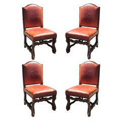 Set of Four Late 19th-Early 20th Century Old French Red Leather Side Chairs