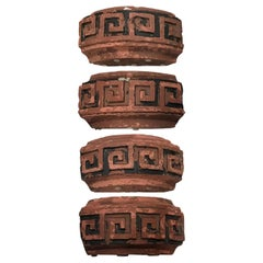 Set of Four Late 19th-Early 20th Century Terracotta Fragments, Greek Key Design