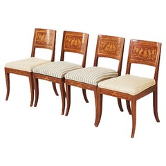Set of Four Late Empire Dining Chairs Marquetry and Cream / Stripe Upholstery