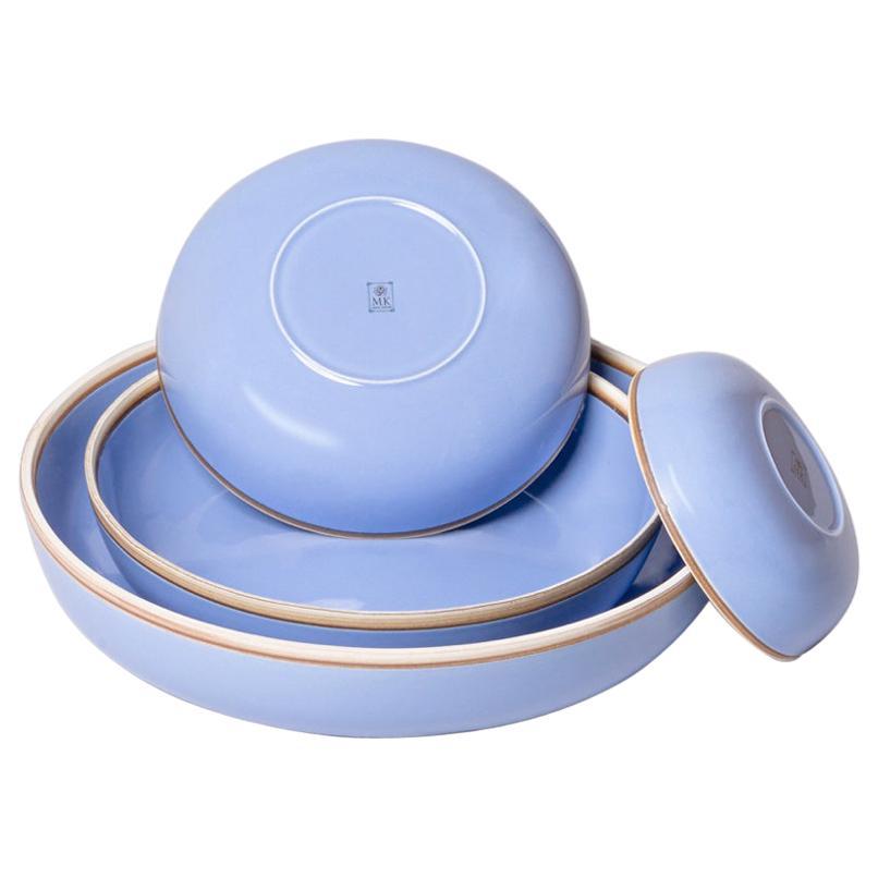 Set of Four Lavender Glazed Porcelain Hermit Bowls with Rustic Rim