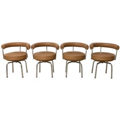 "Set of Four ""LC7"" Chairs by Le Corbusier, Perriand, Jeanneret for Cassina, 1970s"