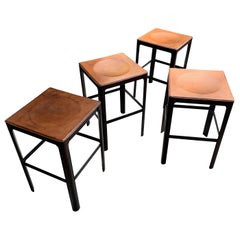Set of Four Leather Bar Stools, France, Midcentury