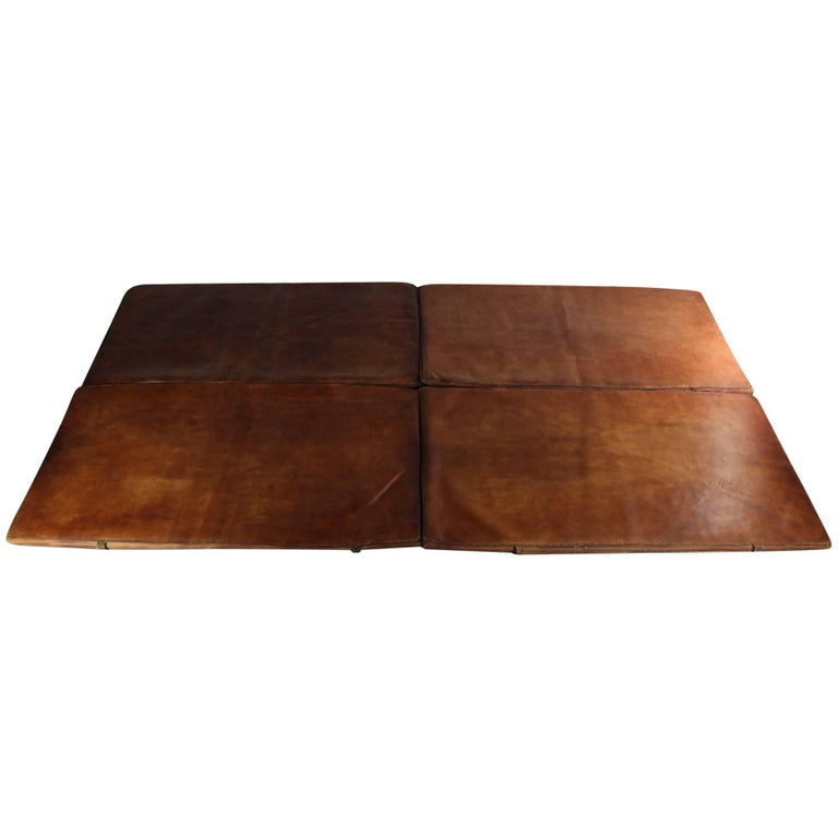 Set of Four Leather Gym Mats, 1940s For Sale