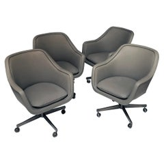 Set of Four Leather Swivel Chairs by Ward Bennett