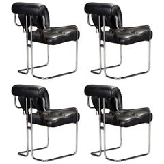 Set of Four Leather 'Tucroma Chairs' by Guido Faleschini for i4 Mariani, 1970s