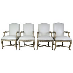 Set of Four Leather Upholstered Painted French Armchairs