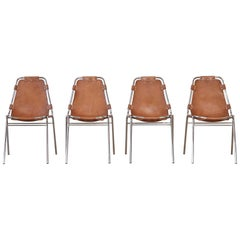 Set of Four 'Les Arcs' Chairs Selected by Charlotte Perriand, 1970s