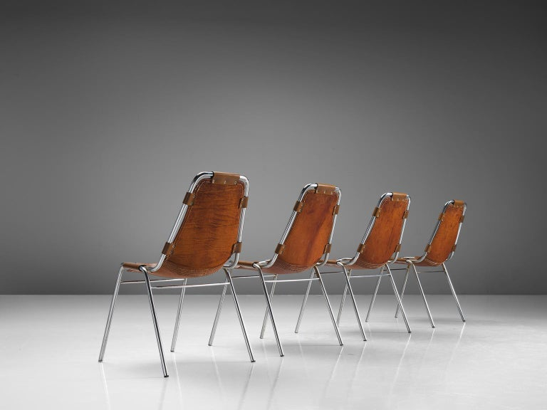 Mid-Century Modern Set of Four Les Arcs Chairs Selected by Charlotte Perriand  For Sale