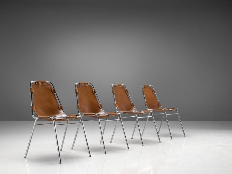 French Set of Four Les Arcs Chairs Selected by Charlotte Perriand  For Sale