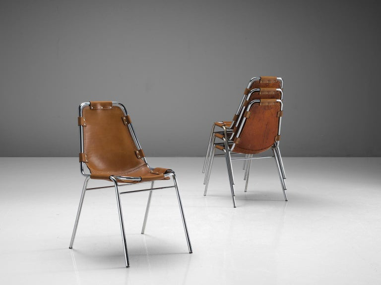 Set of Four Les Arcs Chairs Selected by Charlotte Perriand  In Good Condition For Sale In Waalwijk, NL