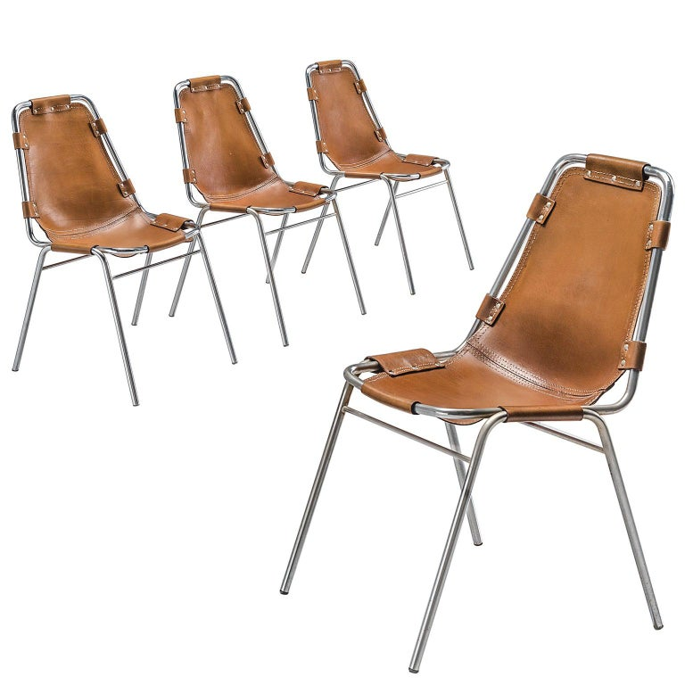 Set of Four Les Arcs Chairs Selected by Charlotte Perriand  For Sale
