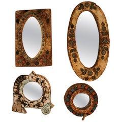 Set of Four Les Argonautes Ceramic Mirrors, France, Vallauris, 1960s
