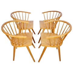 Set of Four Leslie Diamond for Conant Ball Birch Captains Dining Chairs