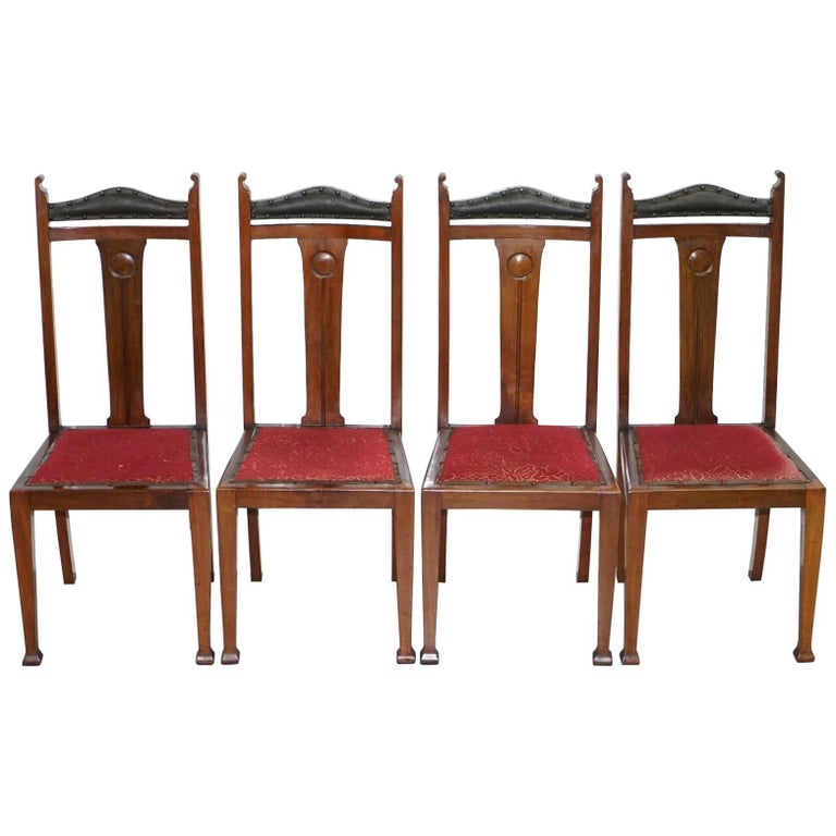 Set Of Four Libertys London Arts And Crafts Dining Room Chairs Archibald Knox For Sale At 1stdibs