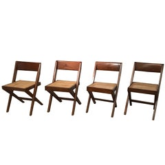 Set of Four Library Chairs by Pierre Jeanneret