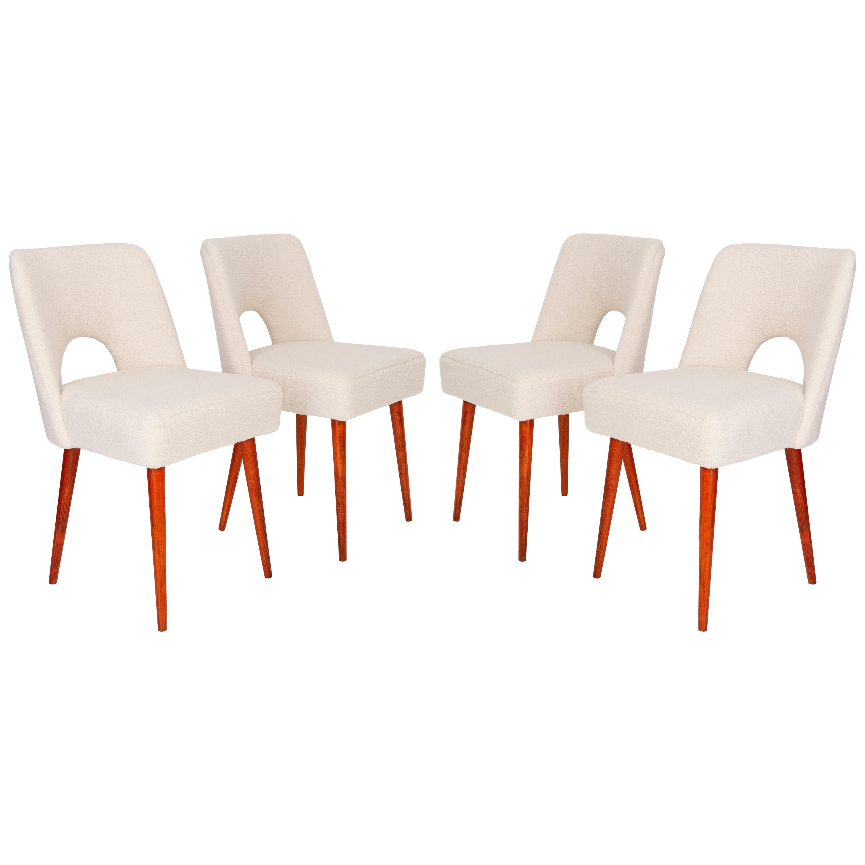 Set of Four Light Crème Boucle 'Shell' Chairs, 1960s