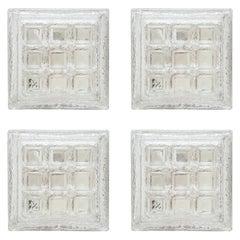 Set of Four Limburg Flush Mount, Sconces Iced Glass,Germany