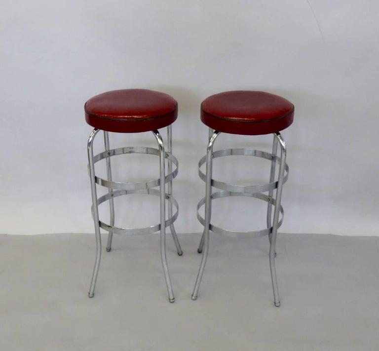 Set of Four Lloyd Chrome Art Deco Barstools For Sale 8