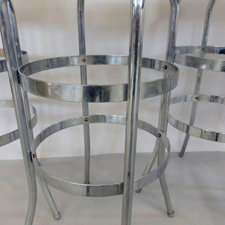 Set of Four Lloyd Chrome Art Deco Barstools For Sale 1