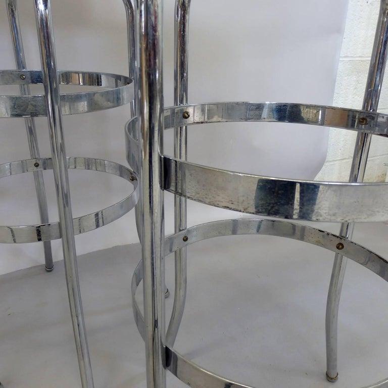 Set of Four Lloyd Chrome Art Deco Barstools For Sale 2