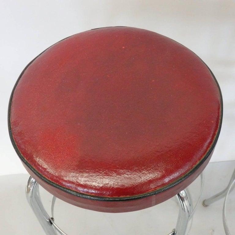 Set of Four Lloyd Chrome Art Deco Barstools For Sale 4