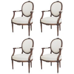 Set of Four Louis Seize-Style Armchairs, France, First Half of the 19th Century