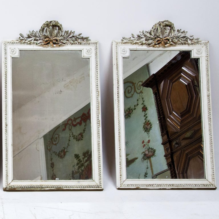 French Set of Four Louis Seize Style Wall Mirrors, Probably, France, 19th Century For Sale