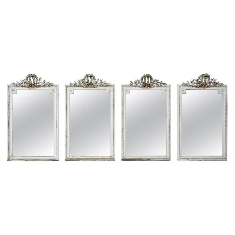 Set of Four Louis Seize Style Wall Mirrors, Probably, France, 19th Century For Sale