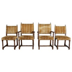 Set of Four Louis XIII Style Barley Twist Dining Chairs