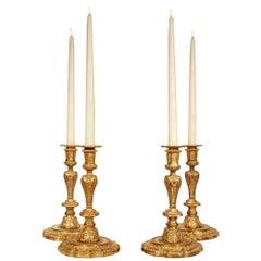 Set of Four Louis XIV Style 19th Century Ormolu Candlesticks