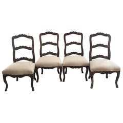 Set of Four Louis XV 19th Century Carved Hoof Feet French Walnut Dining Chairs