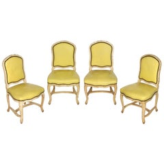 Set of Four Louis XV Style Chairs in Yellow Leather