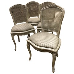 Set of Four Louis XV Style Painted Chairs with Cane Back in Gray/White Hue