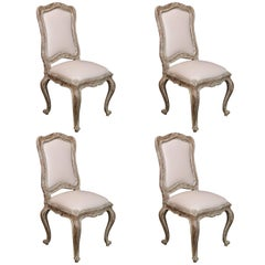 Set of Four Louis XV-Style Side Chairs with Distressed Finish