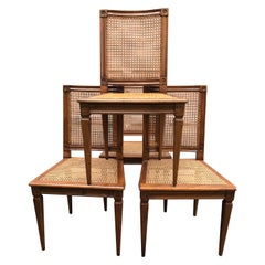Set of Four Louis XVI Caned Chairs