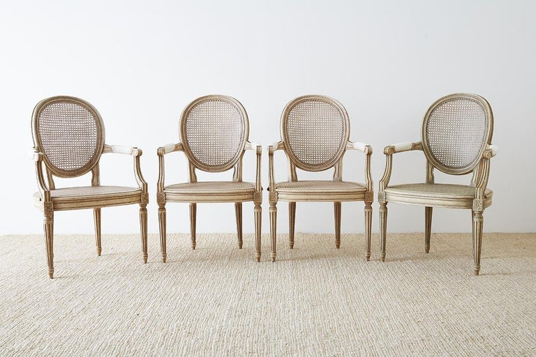 French Set of Four Louis XVI Gustavian Style Dining Chairs For Sale