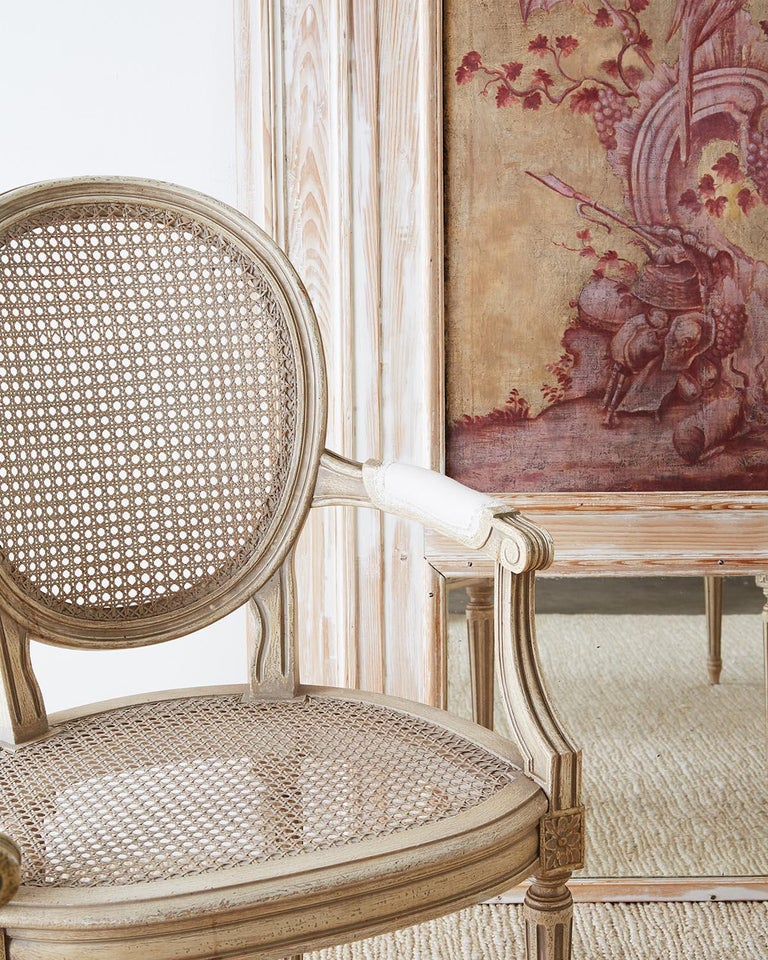 Lacquered Set of Four Louis XVI Gustavian Style Dining Chairs For Sale